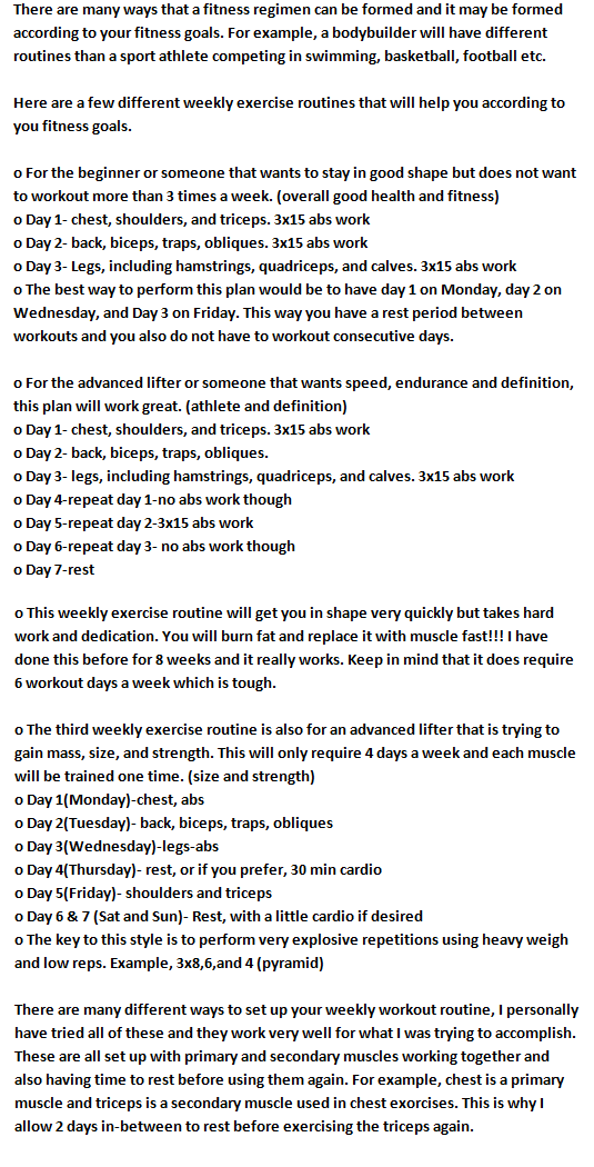 best one of how my weekly workout routine work for beginner and