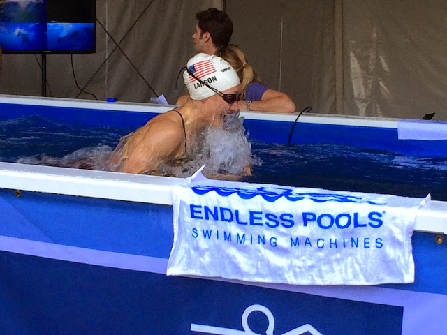 Breja Larson warms up in the High-Performance Endless Pool at the 2015 Arena Pro Grand Swim Series.