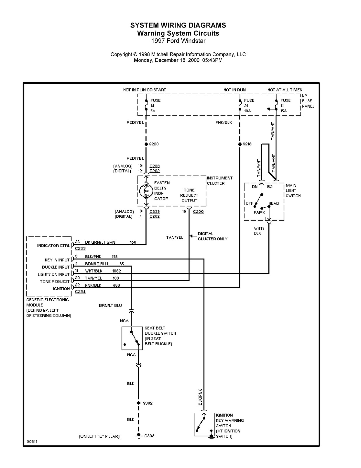 1997 Ford Windstar Complete System Wiring Diagrams Analog Phone Diagram Center
