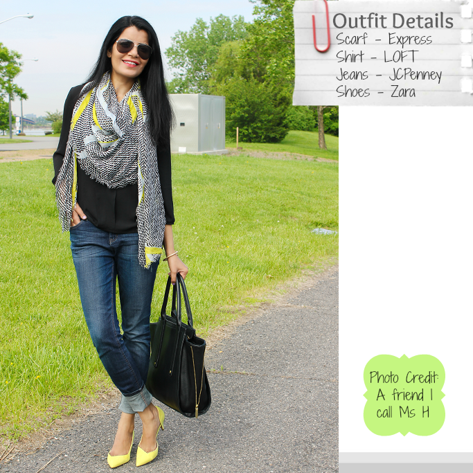 Neon Accent Scarf, Modern Scarf, Zara Neon Pumps, Lime green shoes