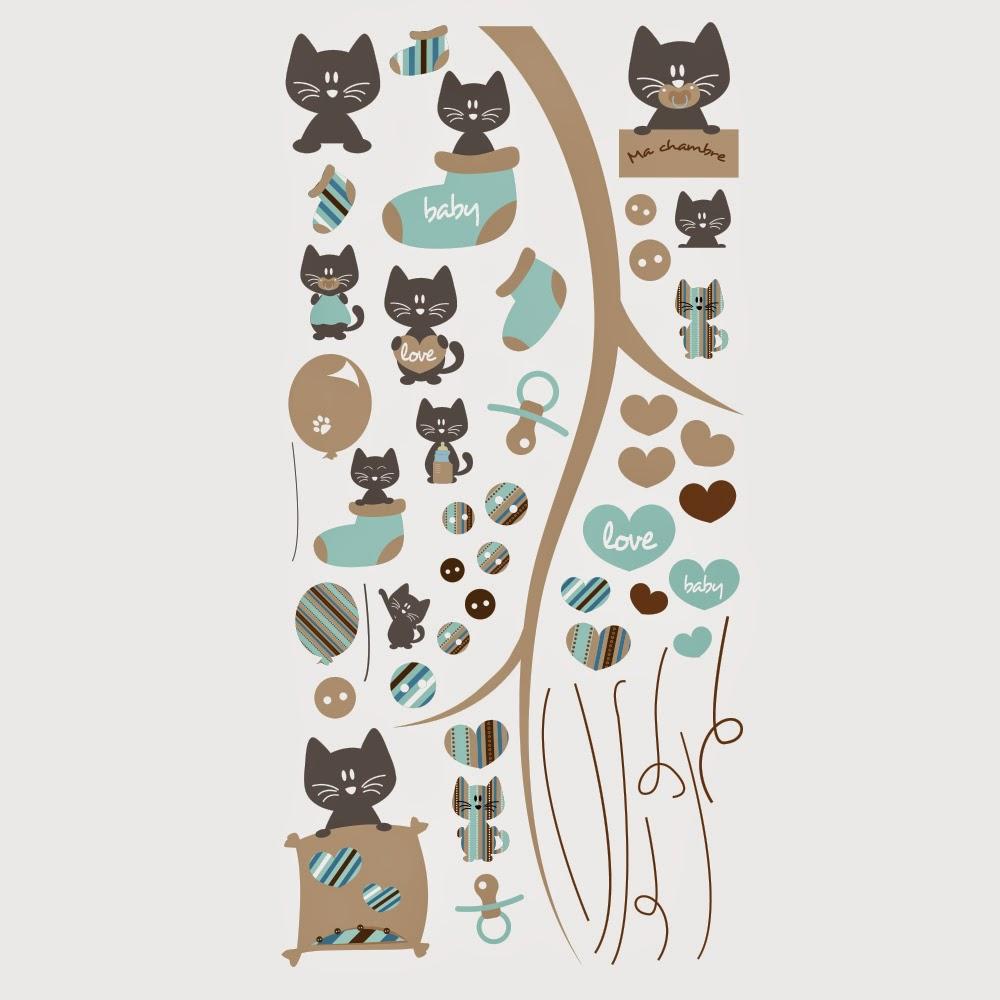 kits stickers enfants petits chat