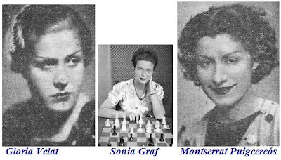 Ajedrecistas femeninas Gloria Velat, Sonia Graf y Montserrat Puigcercós