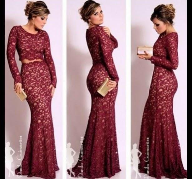 modelo de vestido longo com renda bordô - fotos e dicas