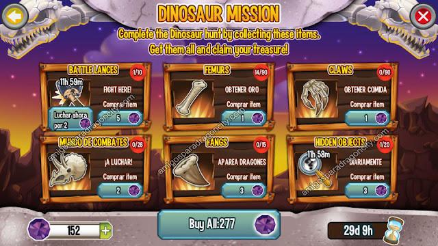 imagen de las tareas de la isla dinosaurio de dragon city para iphone