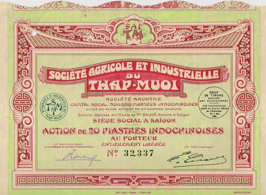 Indochina share of the Société Agricole et Industrielle du Thap-Muoi, Vietnam