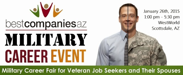 banner for event: bestcompaniesaz Military Career Event Jan. 26, 1-5 p.m. at WestWorld Scottsdale.