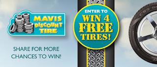 mavis discount tire contest win 4 free tires