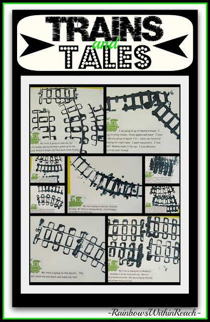 photo of: Train Tracks Print Making and Tales in Preschool via RainbowsWithinReach