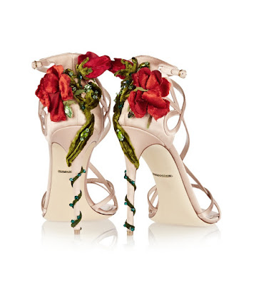 Dolce and Gabbana Barely there stilettos with roses and vines