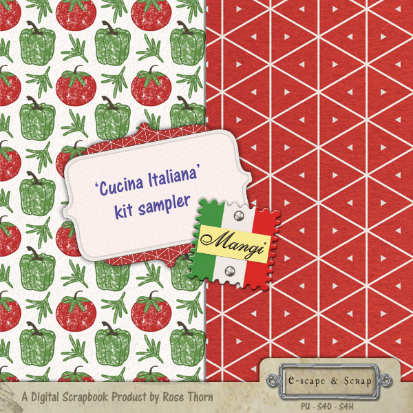 FREEBIE - Cucina Italiana digital scrapbook sampler