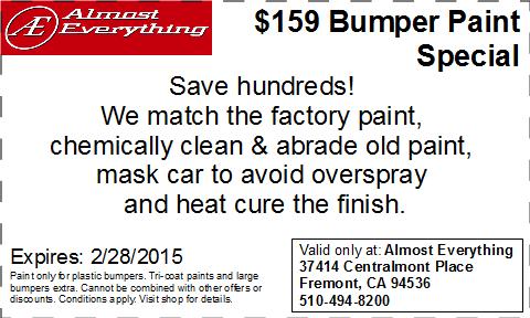 Discount Coupon $159 Bumper Paint Sale February 2015