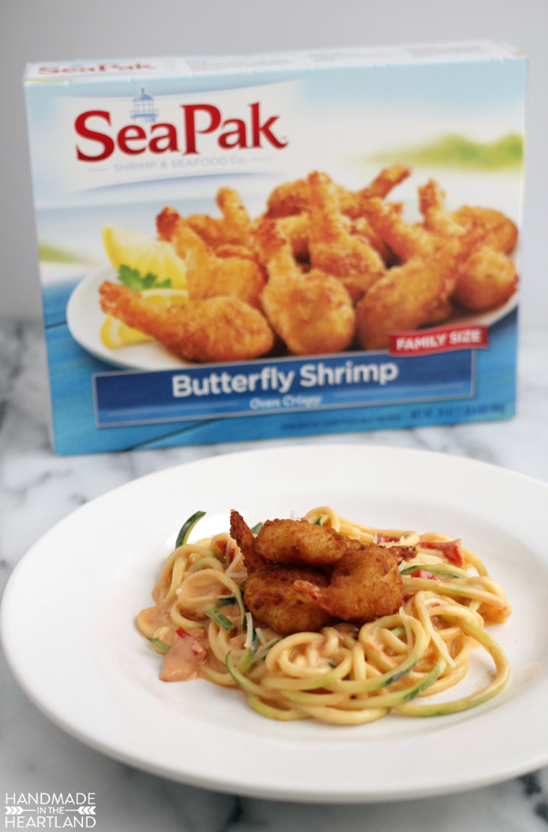 Jumbo Butterfly Shrimp Zucchini Noodle Pasta with Sun-Dried Tomato Alfred Sauce