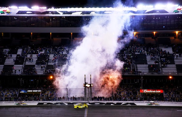 Matt Kenseth, driver of the #20 Dollar General Toyota, celebrates with a burnout after winning the 3rd Annual Sprint Unlimited at Daytona at Daytona International Speedway on February 14, 2015 in Daytona Beach, Florida. (February 13, 2015 - Source: Maddie Meyer/Getty Images North America)