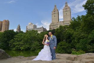Bride and Groom on the big rock - Ladies Pavilion