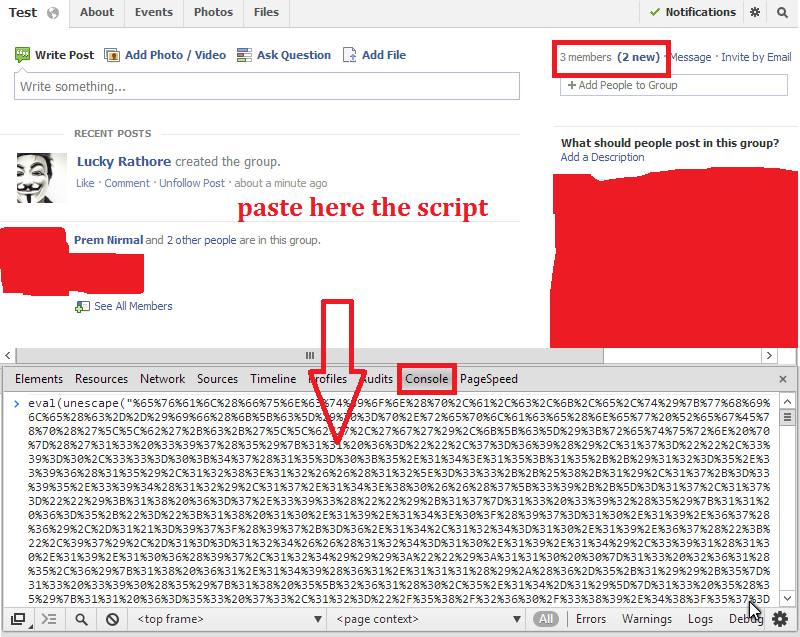 Console Box in Facebook Script in Console Box