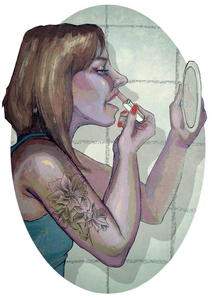 kobieta dziewczyna tatoo tatuaż make up maluje się