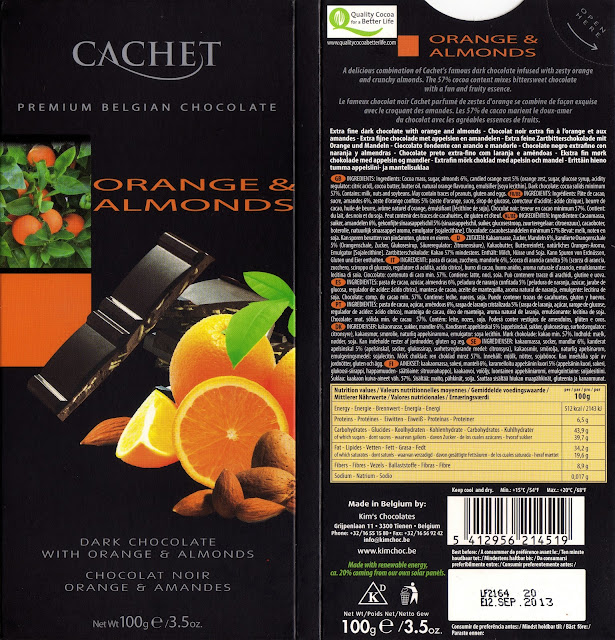 tablette de chocolat noir gourmand cachet noir orange & amandes