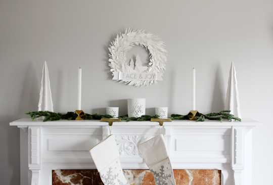 gold and white holiday decorations
