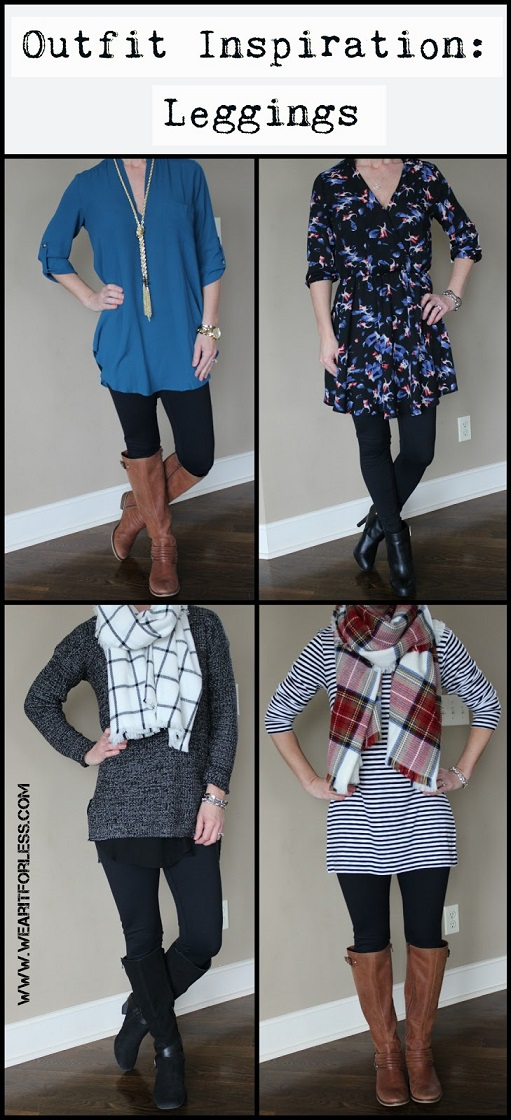 How to wear leggings as pants, what to wear with leggings, winter outfit inspiration, sweater, tunic, dress