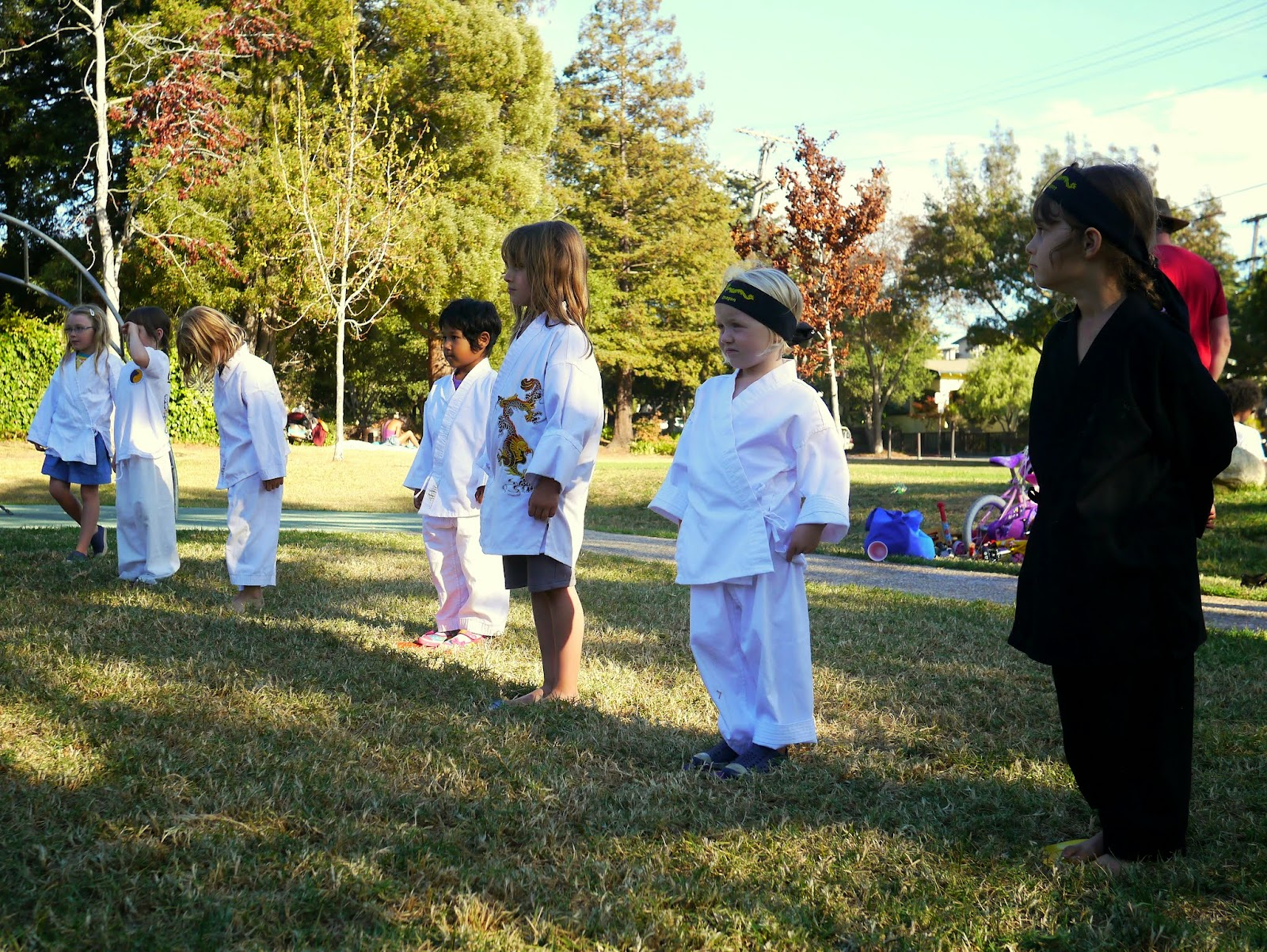 the girls did most of their test together even though they were working towards different belts