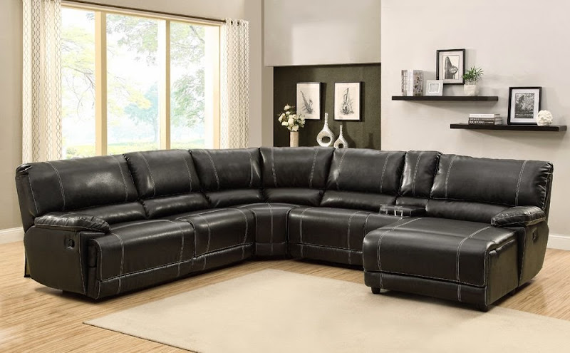 Black Leather Sectional Sofa With Chaise (6 Image)