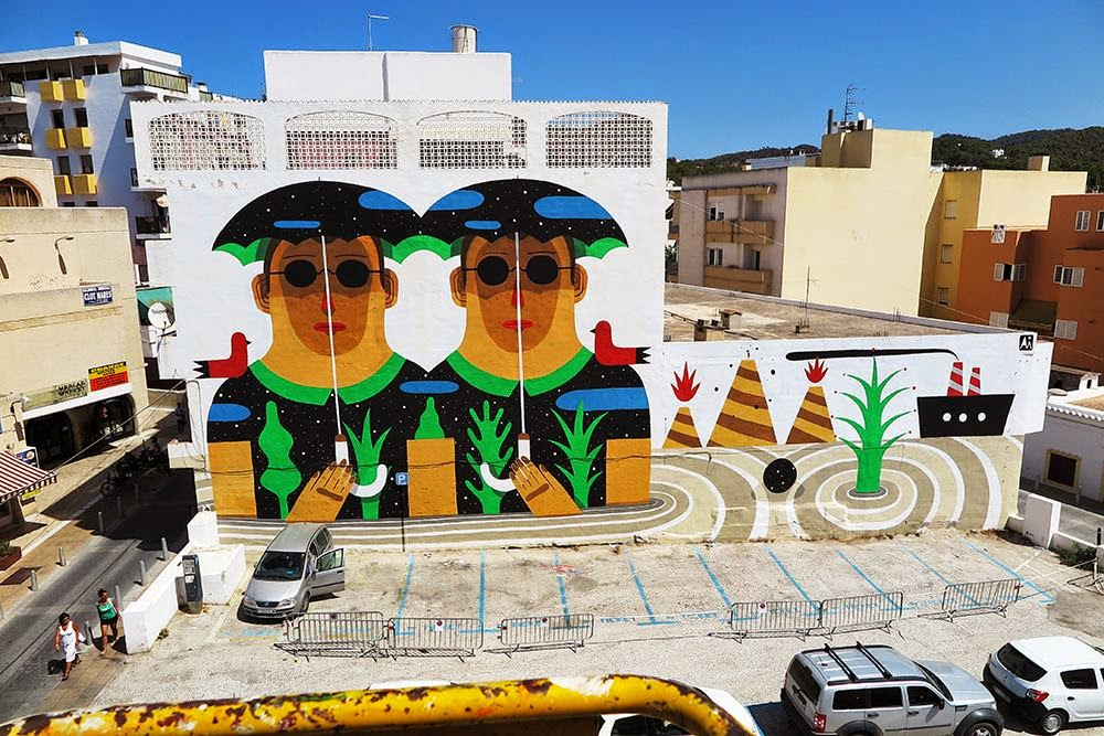 Agostino Iacurci is currently on the lovely island of Ibiza in Spain where he was invited to paint for the latest edition of the Bloop Street Art Festival.
