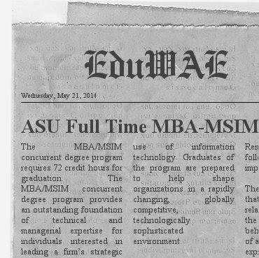 ASU Full Time MBA-MSIM Program