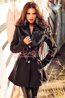 Palton dama negru din stofa cu guler de blana (Atmosphere)