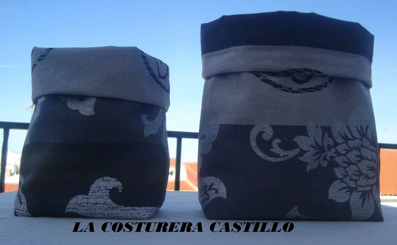 La costurera castillo cestos de tela caja y latas forradas - Cestos de tela ...
