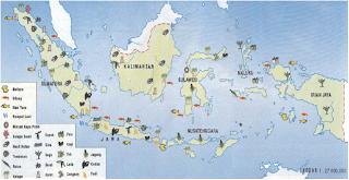 Peta persebaran flora di Indonesia (Sumber: Atlas Indonesia, Dunia & Budaya, Depdikbud)