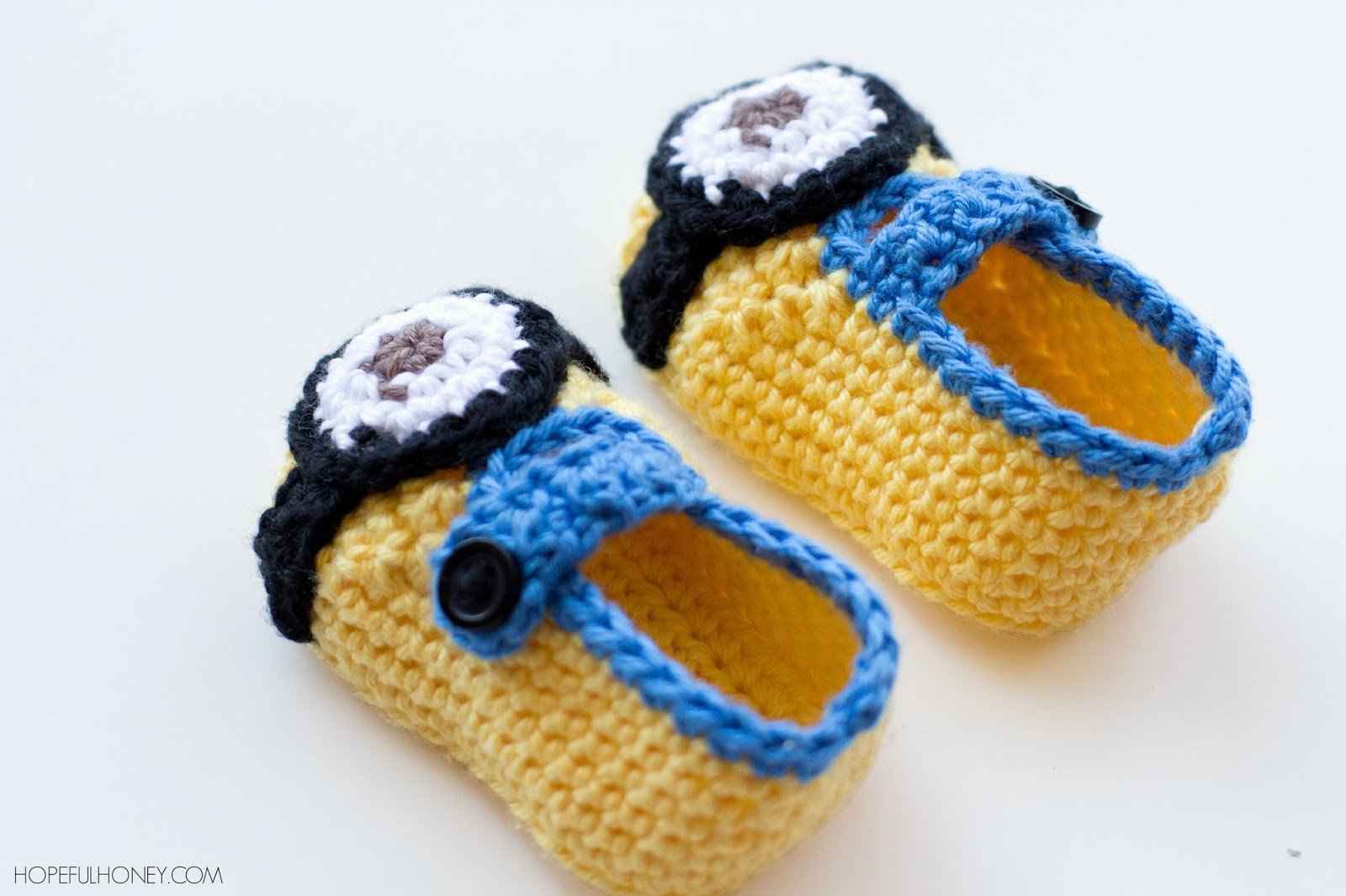 Free Crochet Pattern Minion Baby Booties : Hopeful Honey Craft, Crochet, Create: Minion Inspired ...