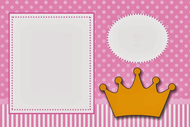Coronas en Fondo Rosa: Invitaciones para Imprimir Gratis. | Ideas ...
