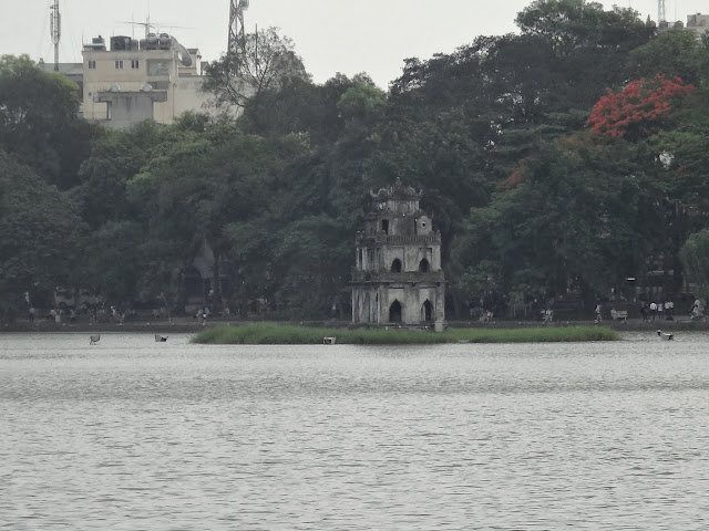 Turtle Tower is located on Hoan Kiem Sword Lake in Hanoi, Vietnam