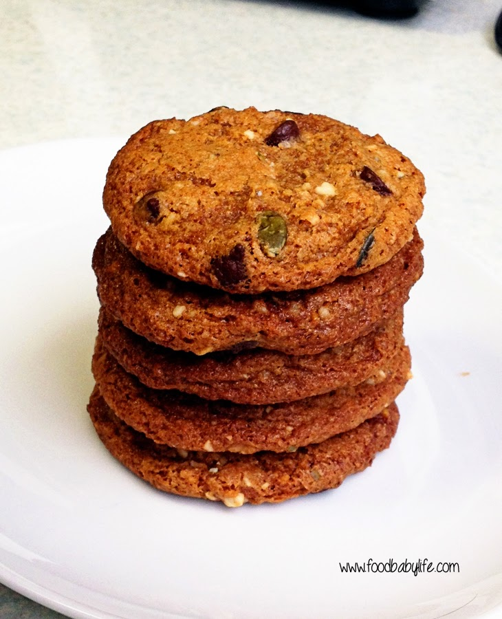 Coconut Oil Chocolate Chip and Nut Cookies Stack  © www.foodbabylife.com