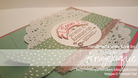 http://stempelkeuken.blogspot.com De Stempelkeuken, Angélique Nederpel Going Global, Mint Macaron, Rhinestone Basic Jewels, Ribbon, Tea Lace Paper Doilies, Tip Top Taupe, Watermelon Wonder, World Traveler