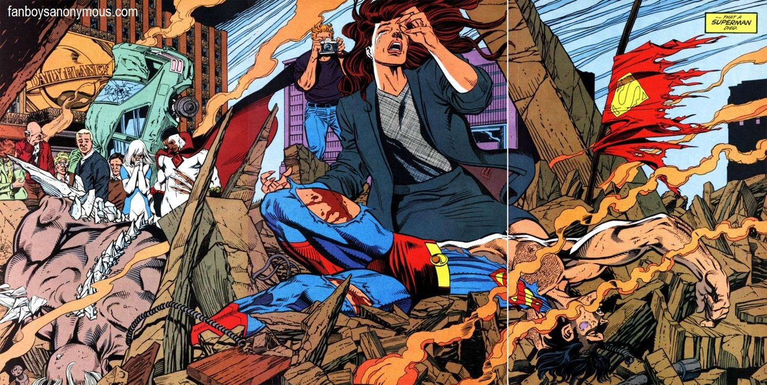 Superman lies dead in the ruins of Metropolis post-Doomsday fight