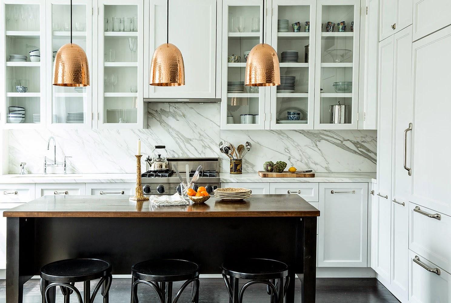 copper pendant lights - kitchen