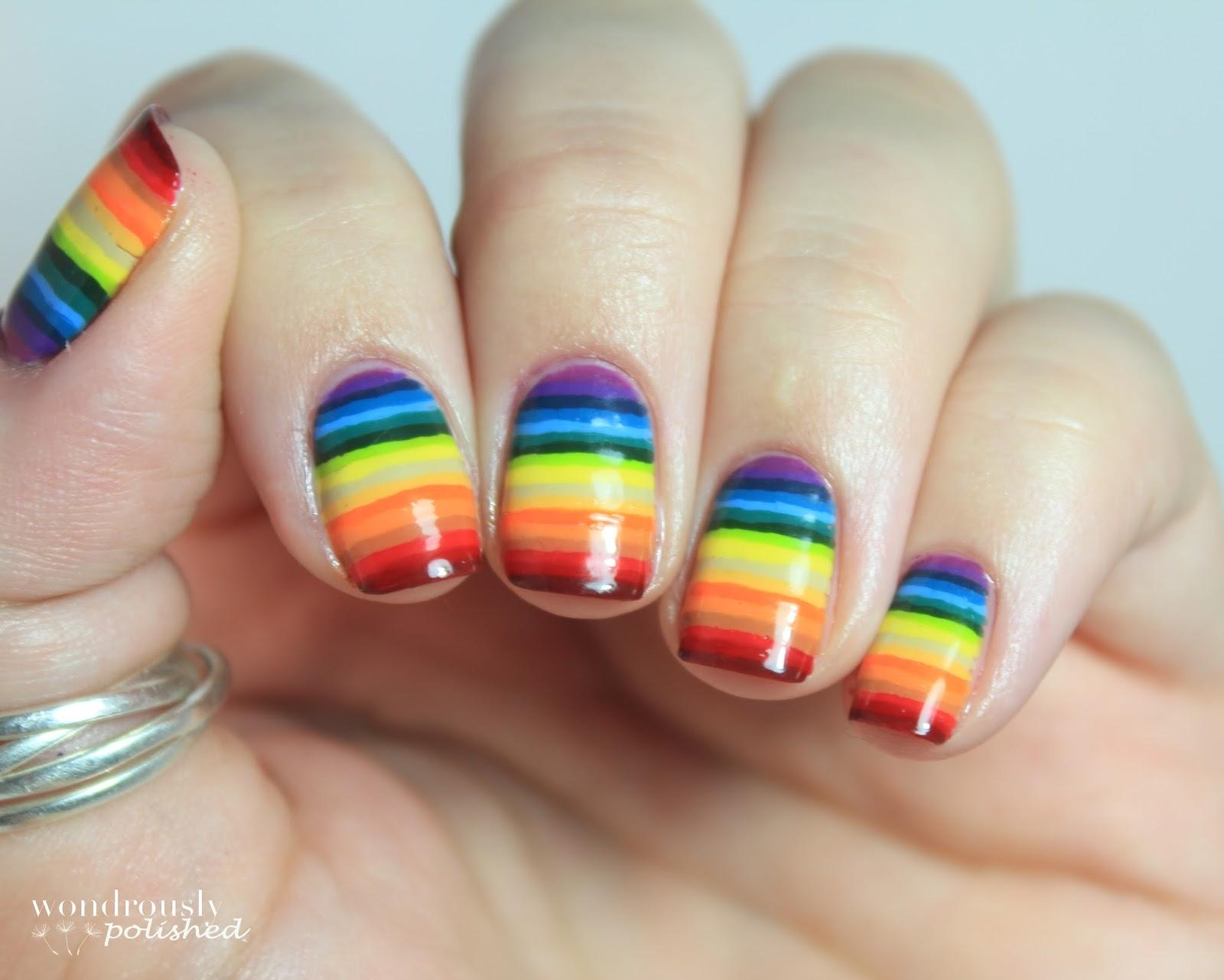 Wondrously Polished: 31 Day Nail Art Challenge - Day 9: Rainbow Nails