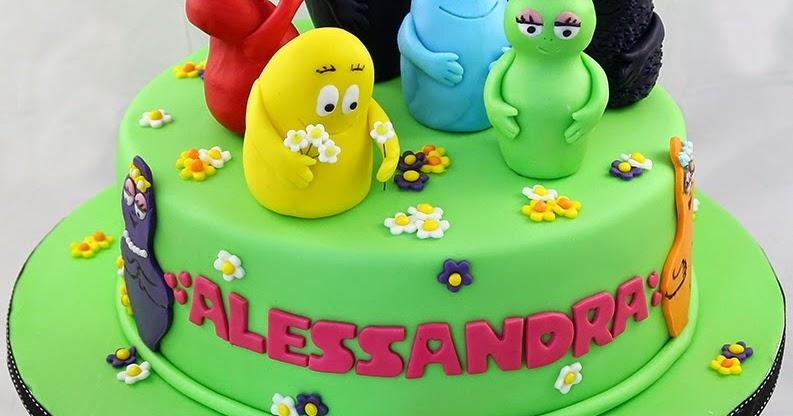Torta Barbapapa con i personaggi tridimensionali in pasta ...