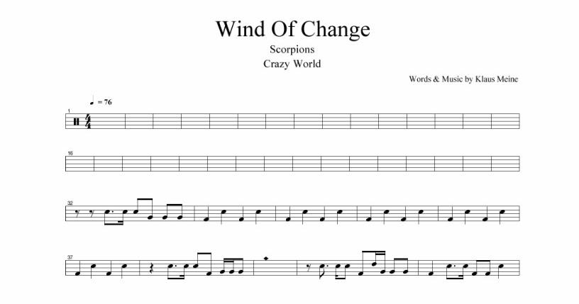 Scorpions - Wind of change | Partituras para Batería