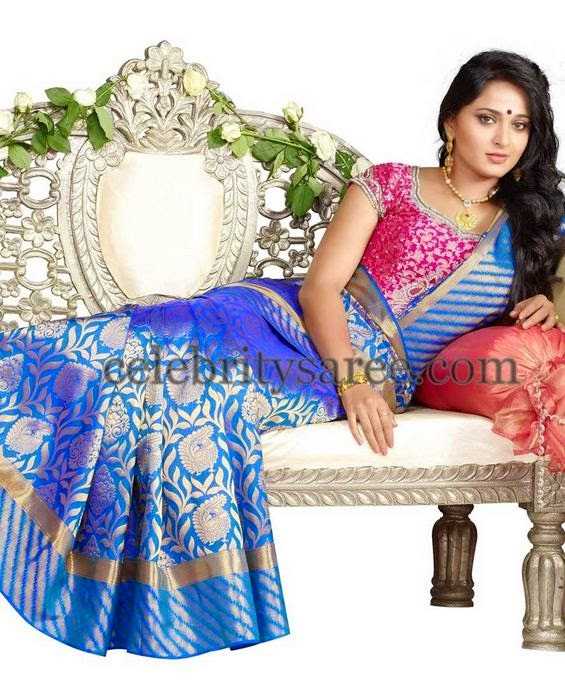 Anushka Benaras Silk Latest Floral Saree