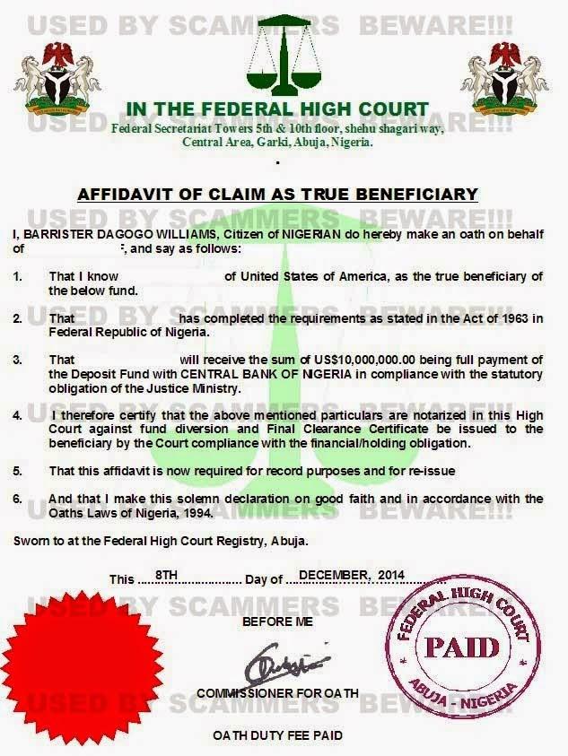 Fraud Fyi Fake Deposit Certificate Affidavit Claim Of Next Of Kin