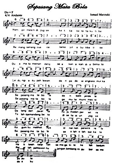 Partitur Lagu Sepasang Mata Bola