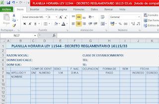 MODELO EN EXCEL DE PLANILLA HORARIA LEY 11544 - DECRETO REGLAMENTARIO 16115/33. Artículo 197 Ley 20.744