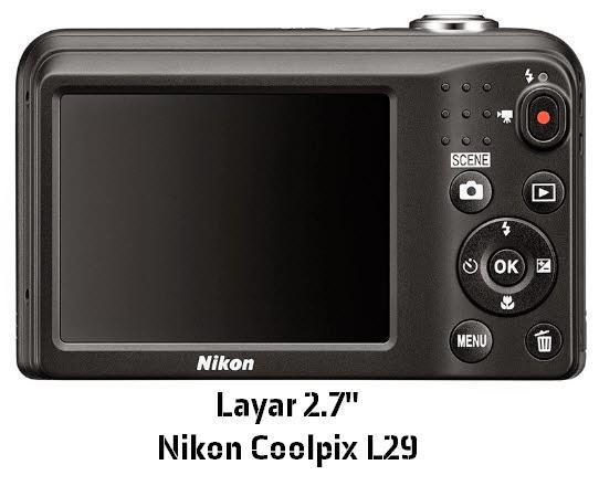 "Kemewahan Layar 2.7"" Nikon Coolpix L29"
