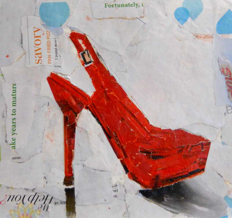 mary b spires watercolor amp art stuff red shoes collage