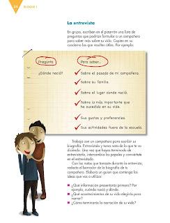 Apoyo Primaria Español 6to Grado Bloque I lección 2 Escribir biografías y autobiografías para compartir