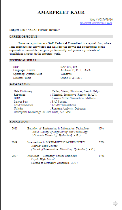 resume sample sap abap fresher resume formats