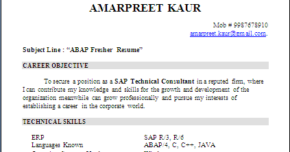 Resume Sample Sap Abap Fresher Resume Formats. Over ...