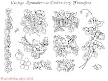 Vintage Strawberries Embroidery designs